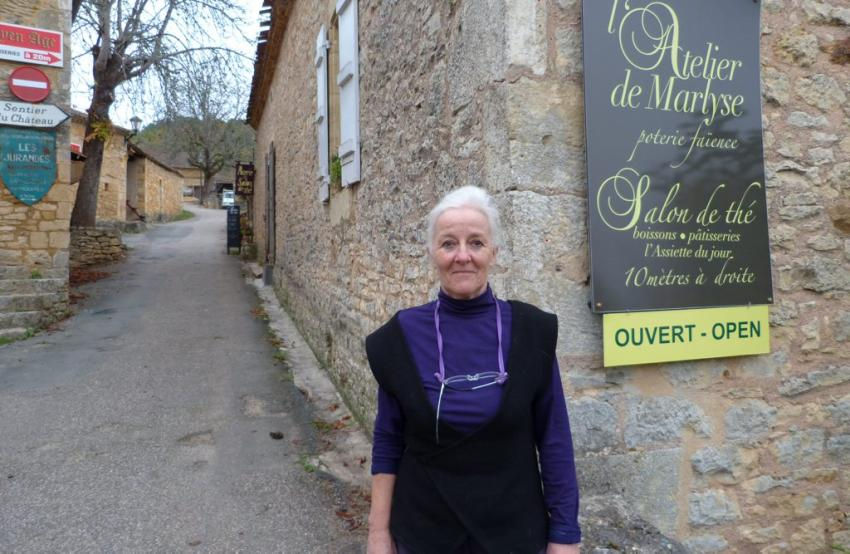 Salon de The and Atelier de Marlyse is a little hidden gem on the uphill climb to Chateau Bonaguil.  Madame has a studio for her pottery in the front and a terrace under the wisteria at the back where she serves some lovely light lunches, homemade cakes, tea and coffee