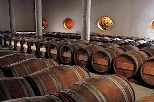The barrel aging cellar at Clos de Verdot