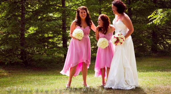 bride and bridesmaids in the garden
